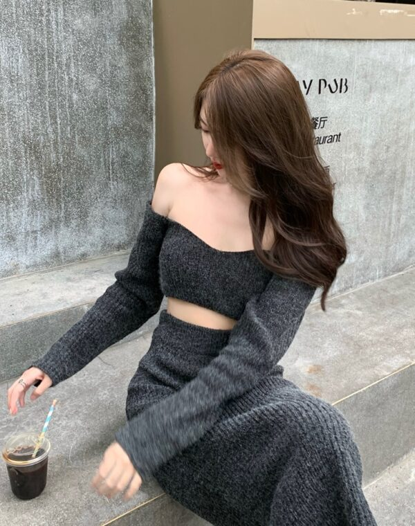 Grey Knitted Cropped Sweater | Ningning – Aespa