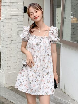 White Floral Puff Sleeves Dress Nayeon – Twice (3)